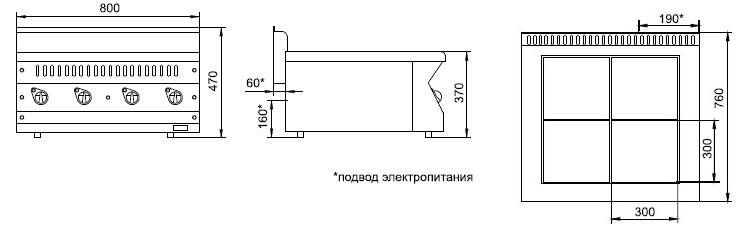Схема электрической плиты ЭПК-47Н.