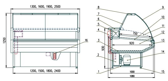 Схема холодильной витрины Двина