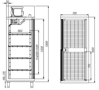 Чертеж холодильного шкафа R1400 Carboma (Карбома) объем камеры 1400 литров.  Схема устройства.