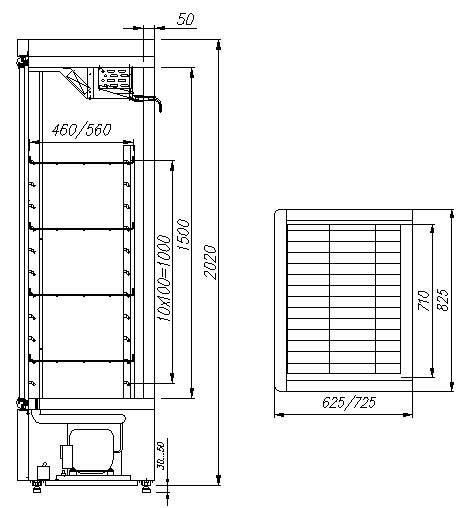 Чертеж холодильный шкаф Carboma R700C (Карбома) стеклянная дверь среднетемпературный.  Схема устройства.